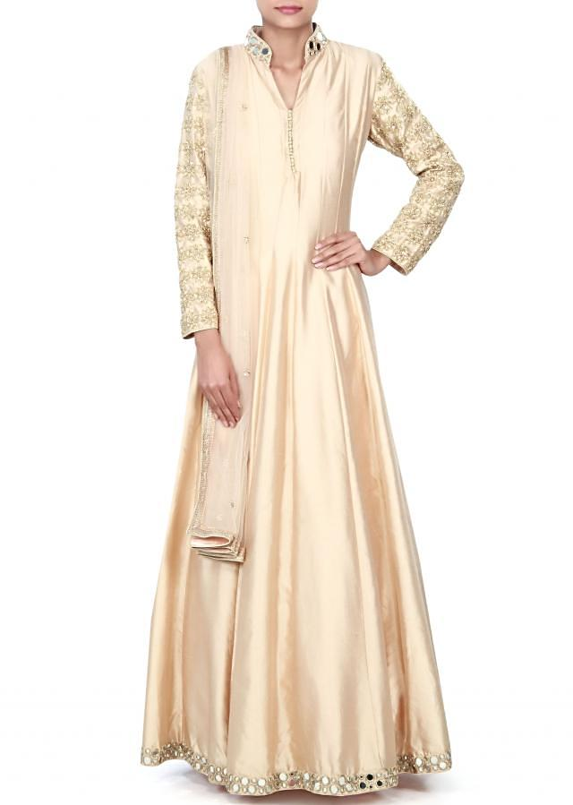 Beige anarkali suit adorn in mirror and zardosi embroidery only on Kalki