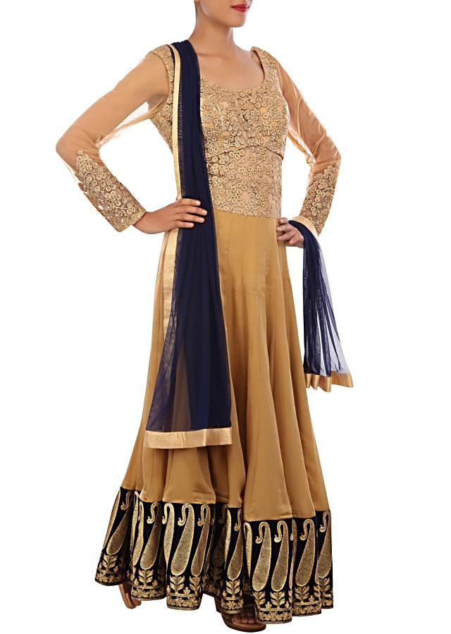 Beige anarkali suit adorn in zari embroidery in paisley motif only on Kalki