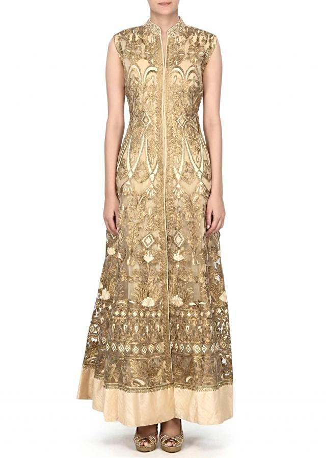 Beige anarkali suit embellisehd in gotta patti and resham embroidery only on Kalki