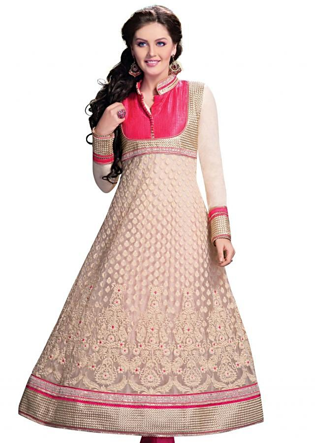 Beige anarkali suit embellished in pin tuck and thread embroidery