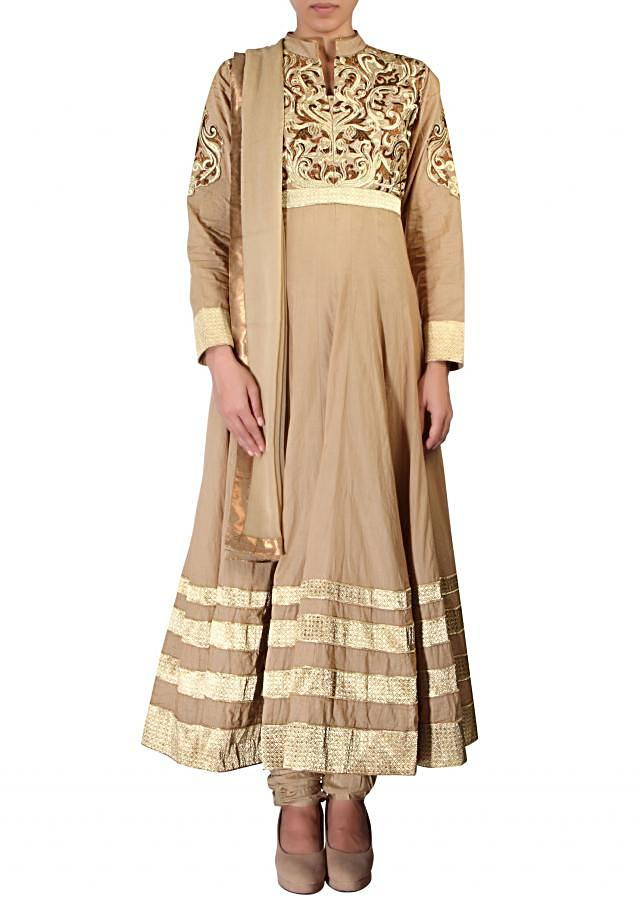 Beige anarkali suit embellished in resham embroidery only on Kalki