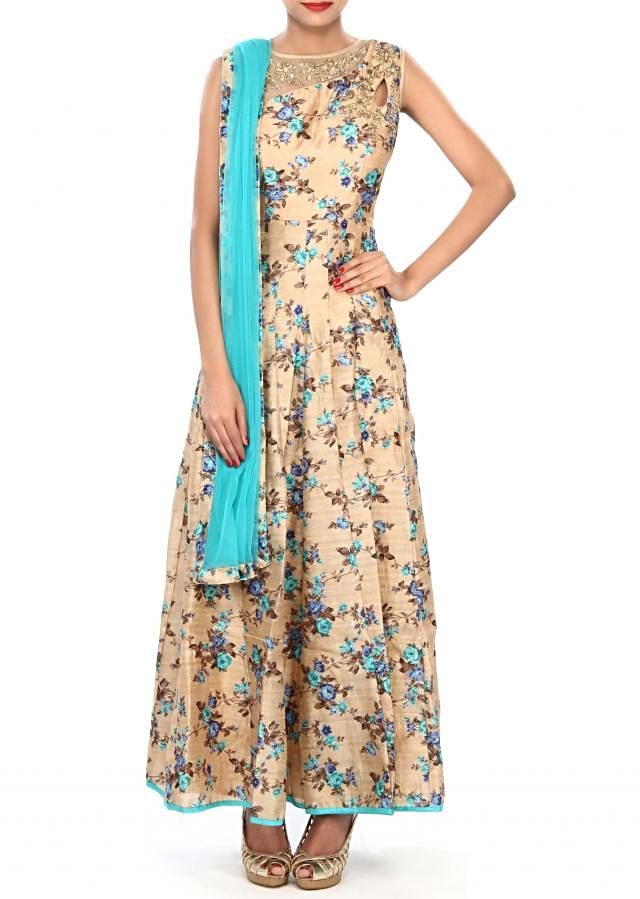 Beige anarkali suit embellished in zari and mirror embroidery only on Kalki