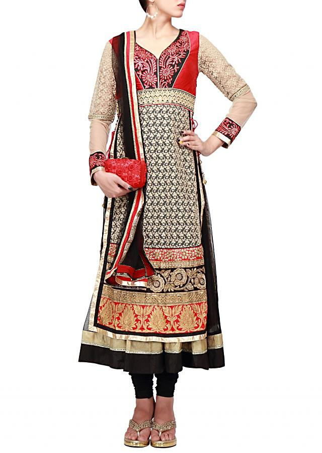 Beige anarkali suit embroidered in thread and resham embroidery only on Kalki