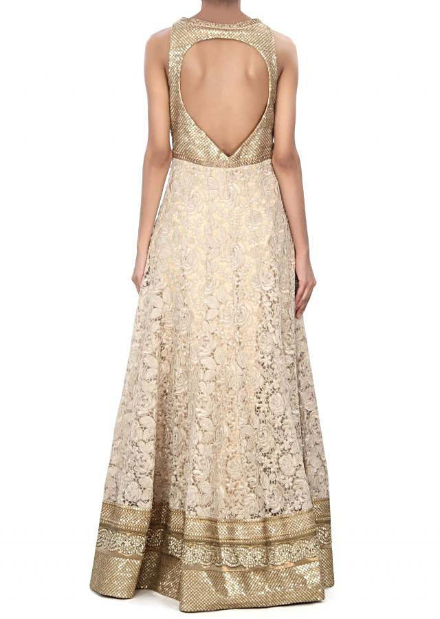 Beige anarkali suit enhanced in cod and sequin embroidery only on Kalki