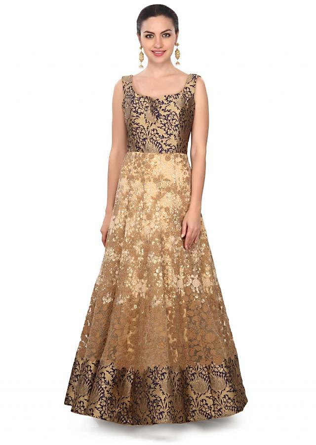 Beige anarkali suit enhanced in sequin and thread embroidery only on Kalki