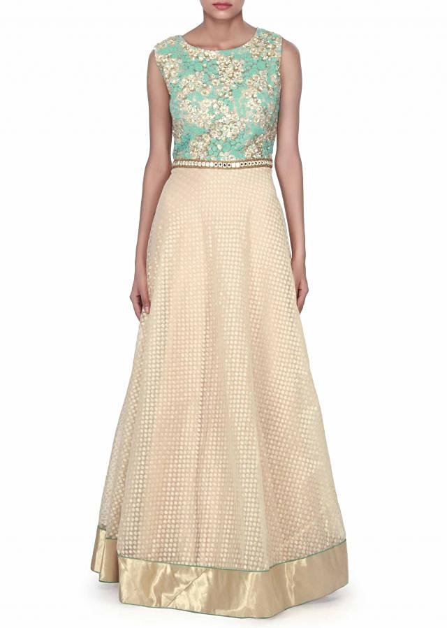 Beige anarkali suit features with sequin and thread embroidery only on Kalki