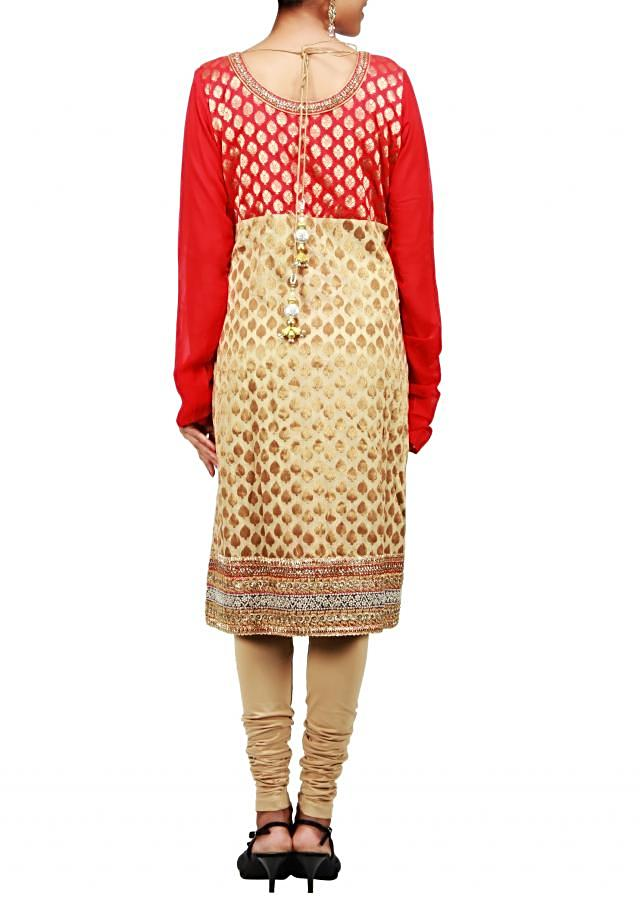 Beige A-line suit featuring in kundan and zardosi embroidery only on Kalki