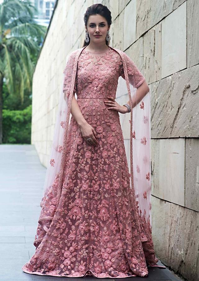 Beige Anarkali Suit In Net With Pink Floral Jaal Motif Embroidery Online - Kalki Fashion
