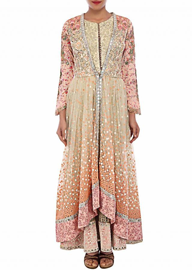 Beige anarkali suit featuring with thread and sequin embroidery only on Kalki