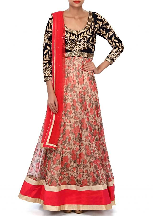 Beige anarkali suit featuring with zardosi embellished bodice only on Kalki