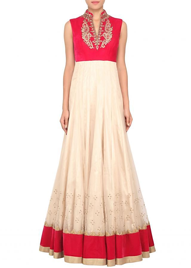 Beige anarkali suit matched with zari and zardosi embroidered jacket only on Kalki