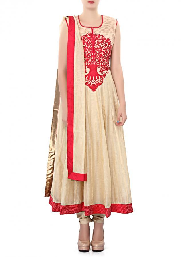 Beige anarkali suit with embroidered bodice only on Kalki
