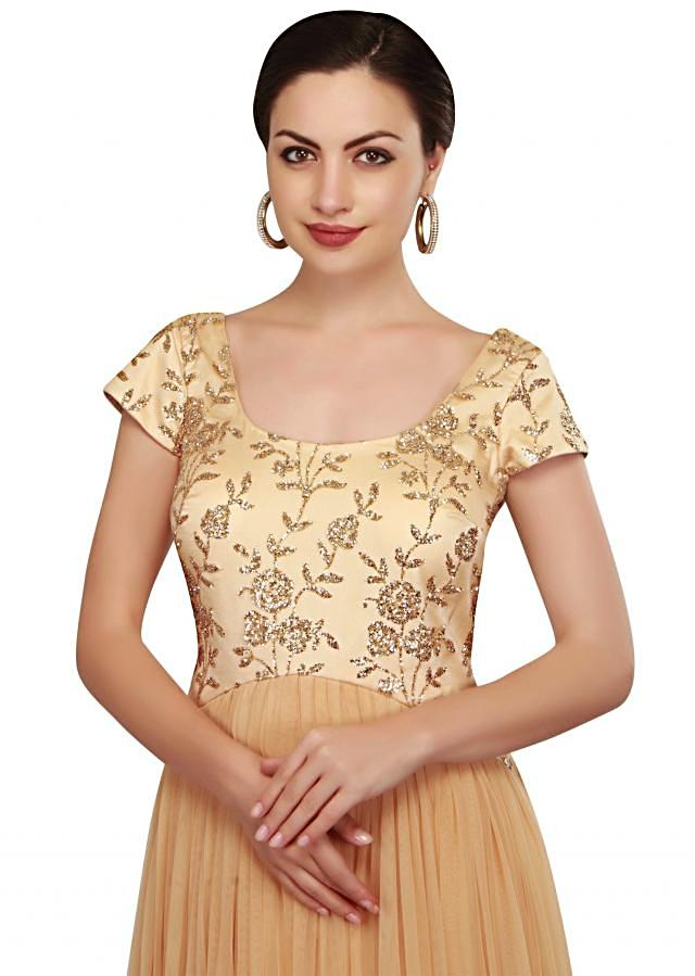 Beige anarkali suit with sequin bodice only on Kalki