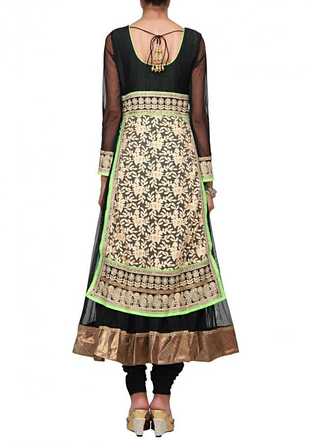 Beige and black anarkali suit embroidered in lucknowi thread work only on Kalki
