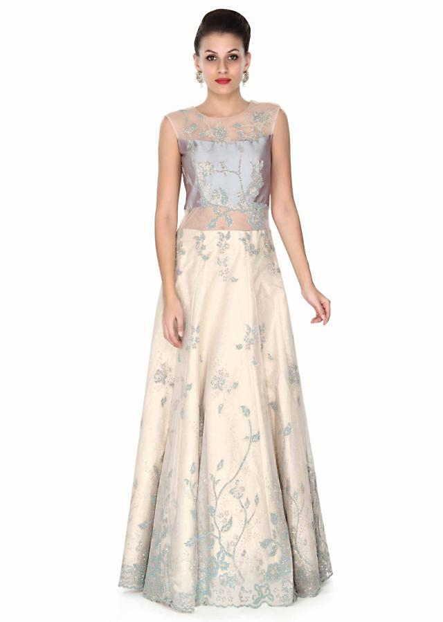 Beige and blue gown adorn in blue moti embroidery only on Kalki