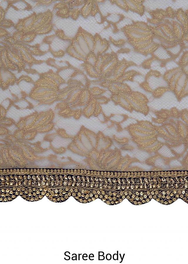 Beige and Blue Net, Lace and Silk Saree Styled with Sequins and Zari Border only on Kalki