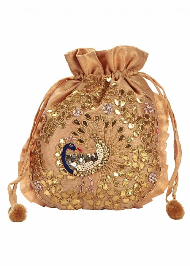 Beige and Gold Dori peacock Embroidered Potli Bag only on Kalki