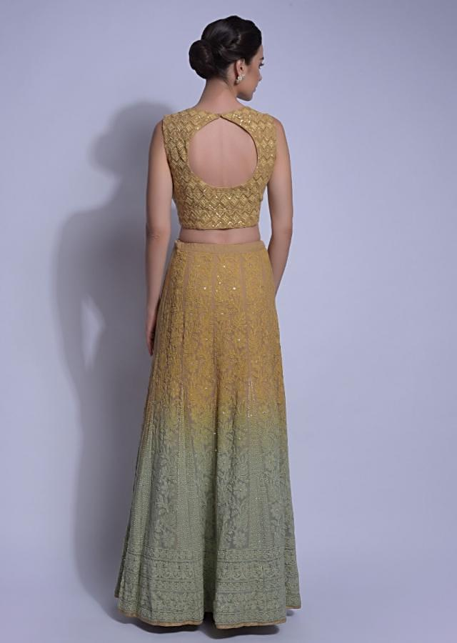 Beige And Green Ombre Lehenga With Lucknowi Work In Floral Pattern Online - Kalki Fashion