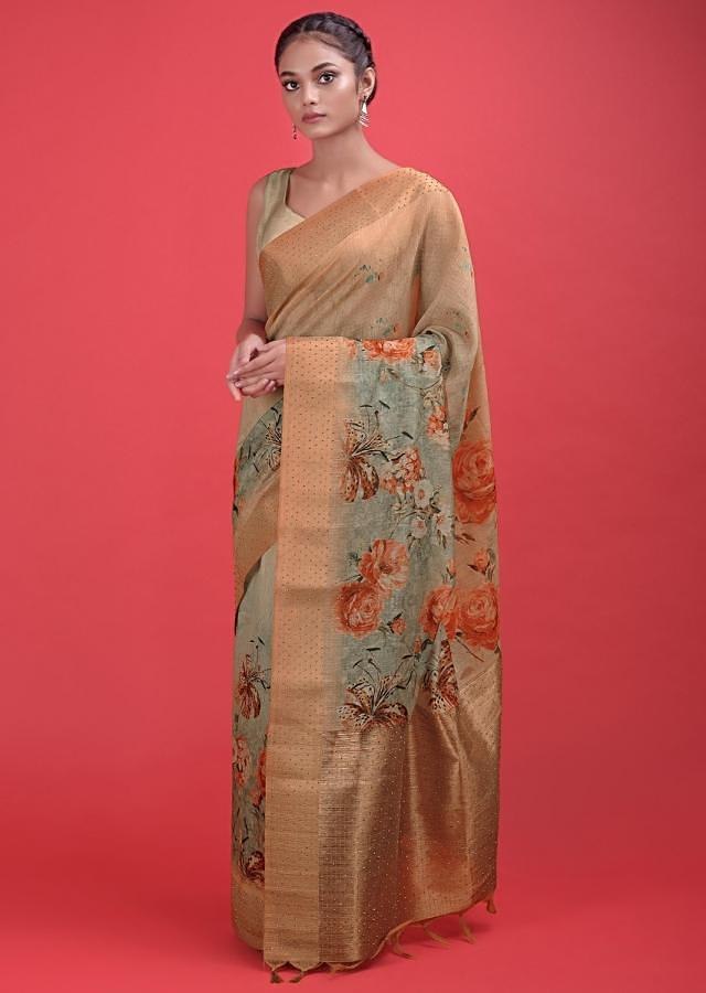 Beige And Green Ombre Saree In Cotton Silk With Printed Floral Pattern And Kundan Work Online - Kalki Fashion