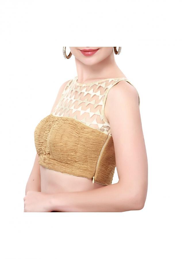 Beige and off white blouse enhanced in gazing only on Kalki