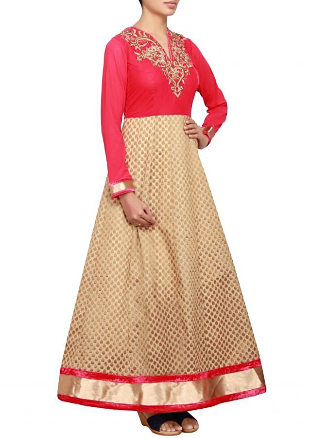 Beige and pink anarkali in velvet and net embellished in zardosi only on Kalki