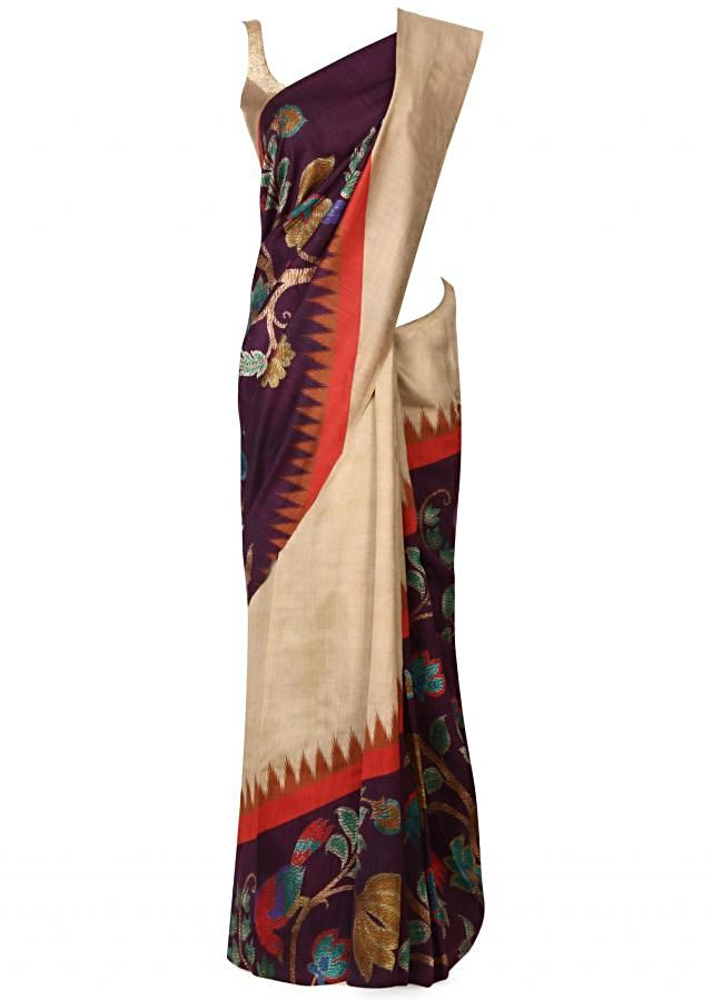 Beige and purple saree in abstract print only on Kalki