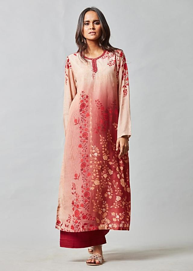 Beige And Red Gradient Kurta In Cotton With Red Palazzo Pants Online - Kalki Fashion