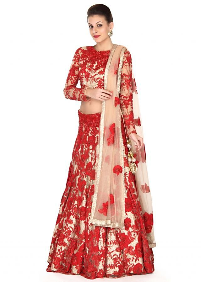 Beige and red resham embroidered lehenga only on Kalki