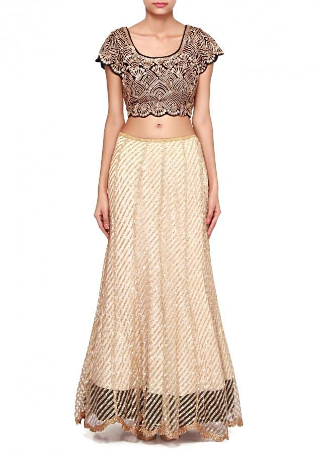 Beige and red saree lehenga adorn in sequin and kardana embroidery only on Kalki
