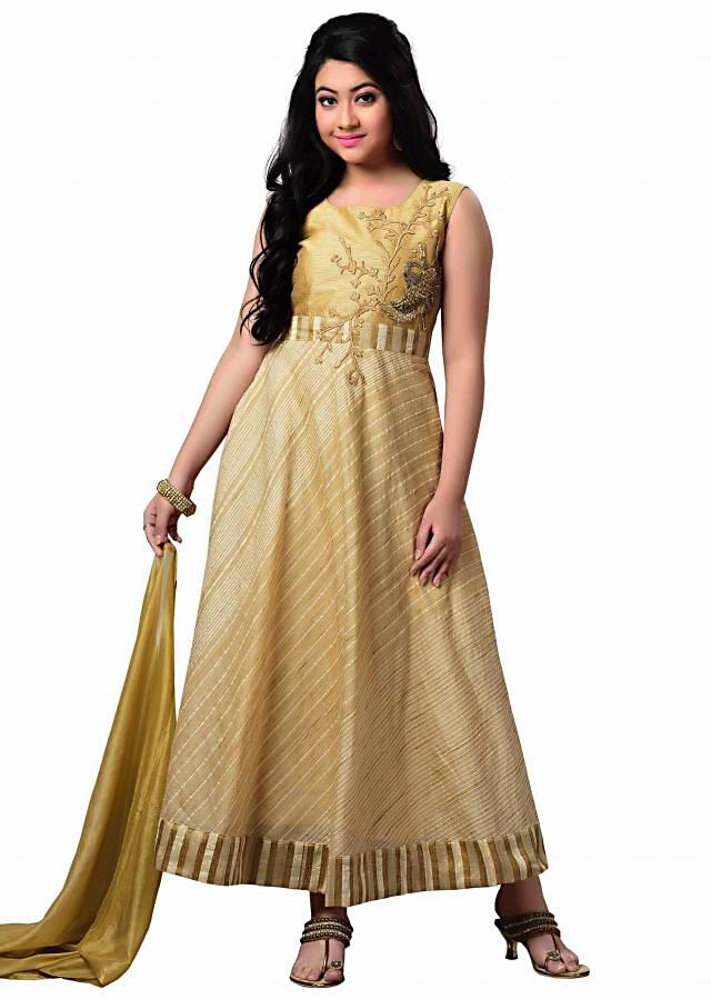 Beige Banglory Silk, Cotton Jacquard Churidar Suit With Handwork on top