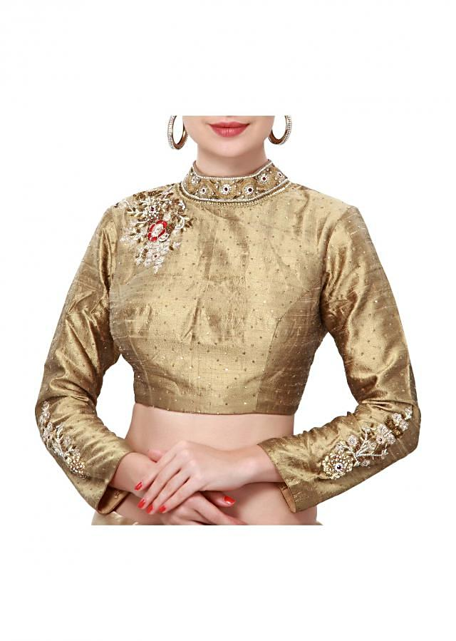 Beige blouse adorn in kundan and resham embroidery only on Kalki