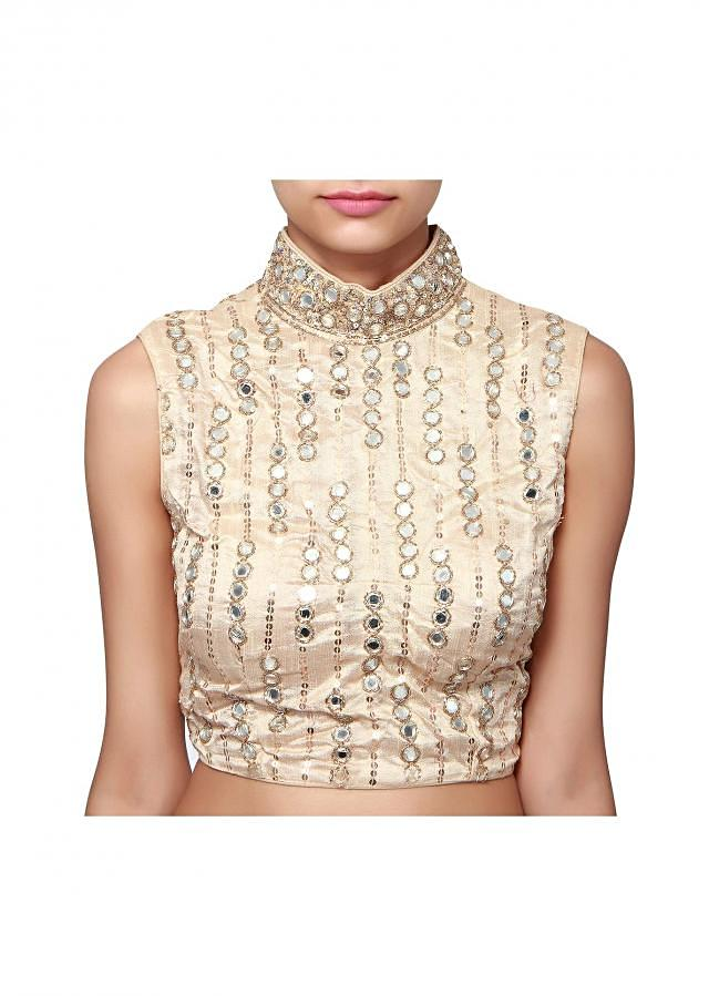 Beige blouse adorn in sequin and mirror embroidery