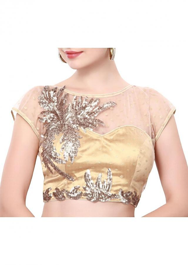 Beige blouse adorn in sequin embroidery only on Kalki