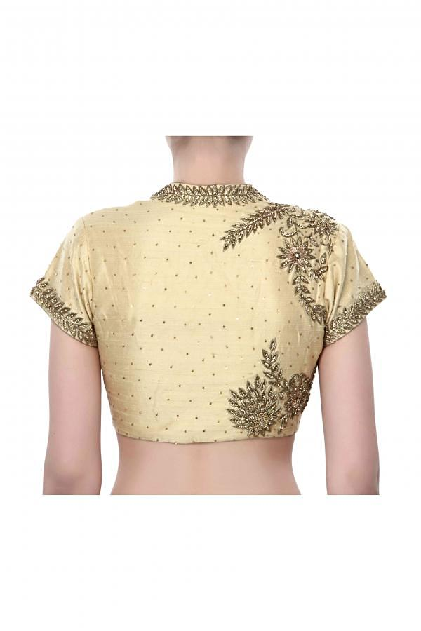 Beige blouse adorn in zardosi embroidery only on Kalki