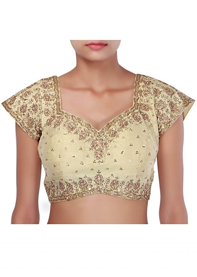 Beige blouse embellished in stone and kardana only on Kalki