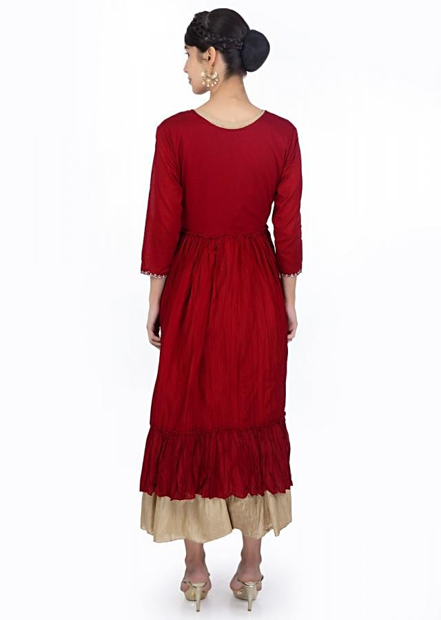 Beige Tunic Dress In Cotton Matched With A Brick Red Jacket With Gathers Online - Kalki Fashion