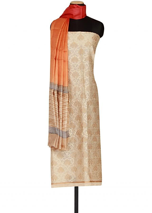 Beige cotton un-stitched salwar-kameez embellished in resham and zari embroidery only on Kalki