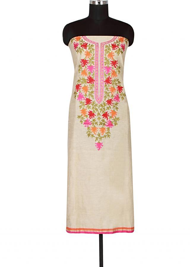 Beige cotton unstitched salwar kameez embellished in resham embroidery only on Kalki