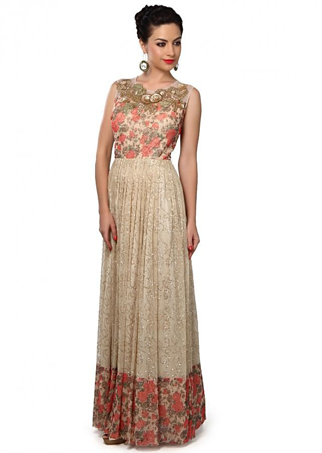 Beige dress adorn in sequin and zardosi embroidery only on Kalki