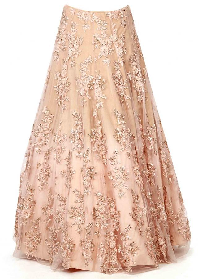 Beige embroidered lehenga matched with cape only on Kalki