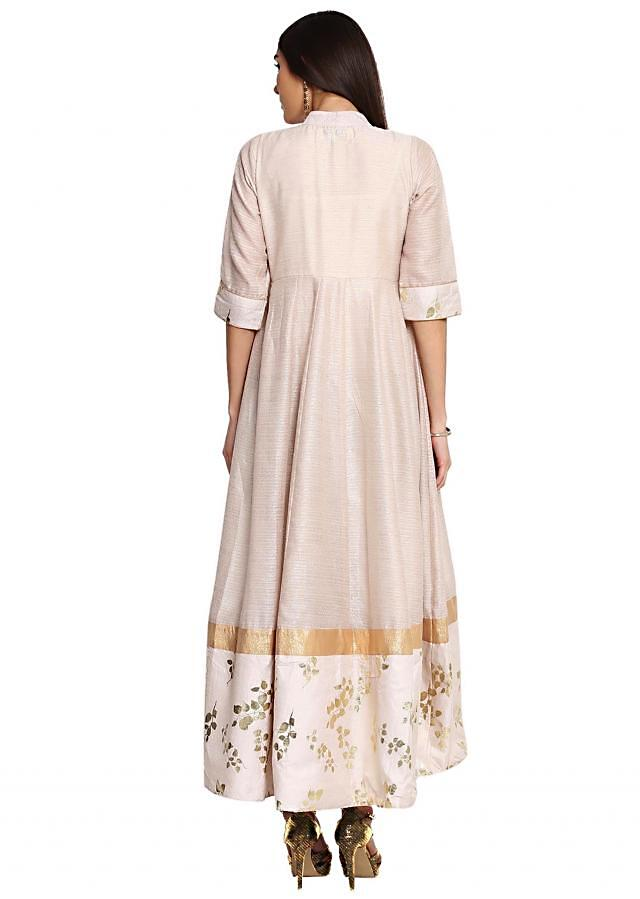 Beige Flared Foil Print Gown