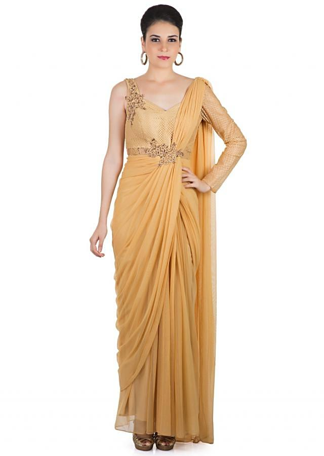 Beige Georgette Net Saree Gown Featuring Cut Work and Pre-Stitched Pleats only on Kalki