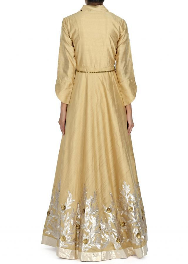 Beige gown adorn in applique and gotta lace embroidery only on Kalki