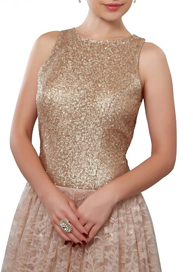 Beige gown adorn in sequin and resham embroidery only on Kalki