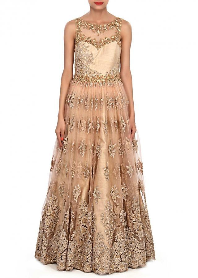Beige gown embellished in sequin and kardana butti only on Kalki