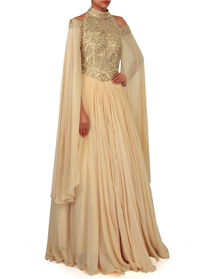 Beige gown in zari bodice with slit sleeve only on Kalki