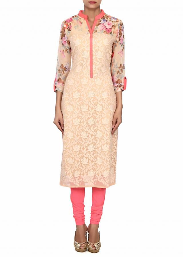 Beige kurti adorn in floral print and resham embroidery only on Kalki