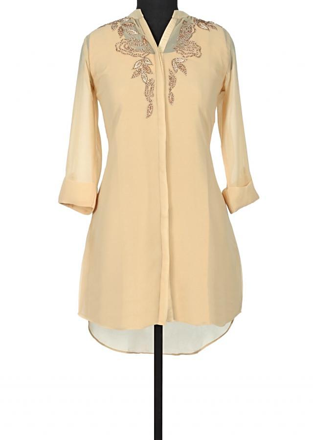 Beige kurti adorn in resham and kundan embroidery only on Kalki