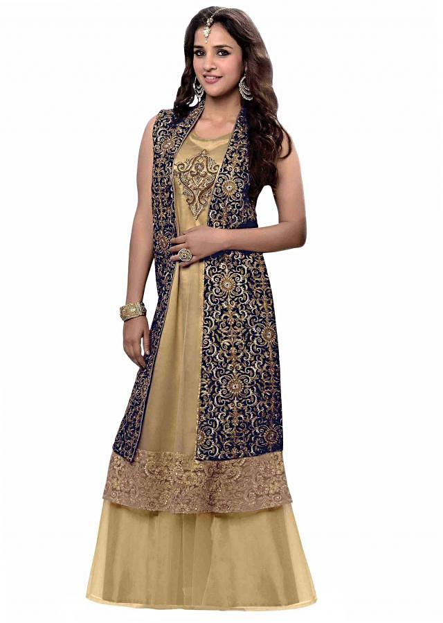 Beige kurti feautring with embroidered jacket only on Kalki