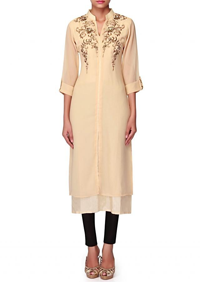 Beige kurti in kundan and sequin embroidery only on Kalki